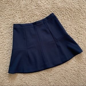 J. Crew Fluted Skirt in Double Crepe Navy Blue